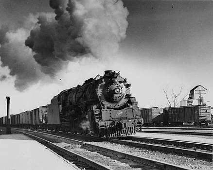 Chicago and North Western Historical Society - Steam Engine Pulling Freight in Iowa - 1944