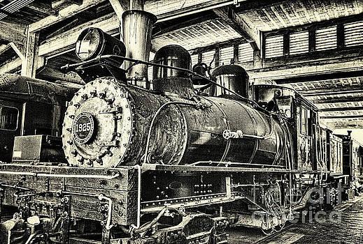 Steam Engine Train 1925 Lima Locomotive BW by Dan Carmichael