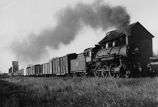 Chicago and North Western Historical Society - Steam Engine With Freight in Wisconsin