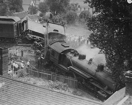Chicago and North Western Historical Society - Smoldering Locomotive Wreck