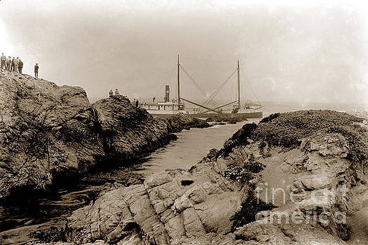California Views Mr Pat Hathaway Archives - Steam schooner S S J. B. Stetson, ran aground at Cypress Point, Sep. 1934