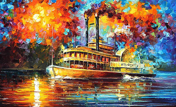 Steamboat - PALETTE KNIFE Oil Painting On Canvas By Leonid Afremov by Leonid Afremov