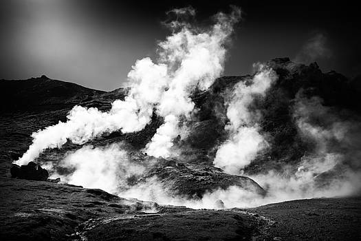 Steaming Iceland black and white Landscape by Matthias Hauser