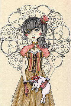 SteamPunk Alice and the white rabbit by Snezana Kragulj
