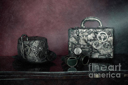 steampunk Hat group, suitcase and glasses by Murgia Cinzia