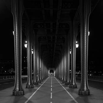 Steel colonnades in the night by Denis Rouleau