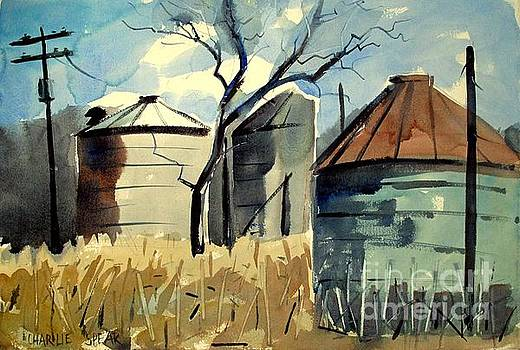 Steel Silos in a Field matted glassed framed by Charlie Spear
