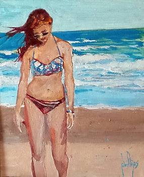 Stephie on the Beach by Jim Phillips