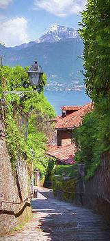 Stepped Lane Menaggio Lake Como Italy by Joan Carroll