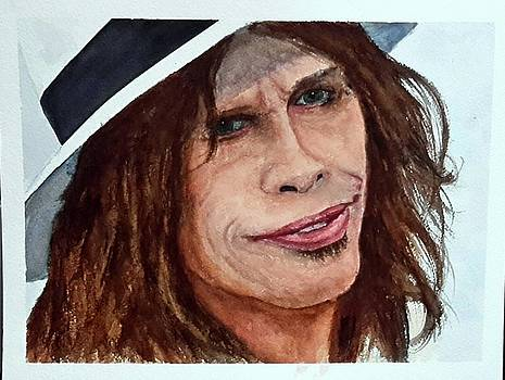 Steven Tyler quick Watercolor Sketch by Richard Benson