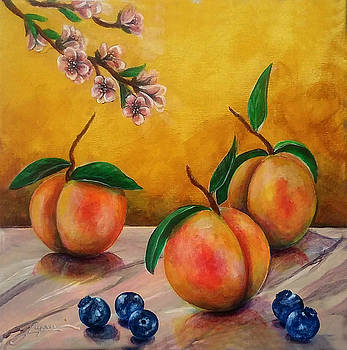 Thomas Lupari - Still life #5 Peaches and blueberries