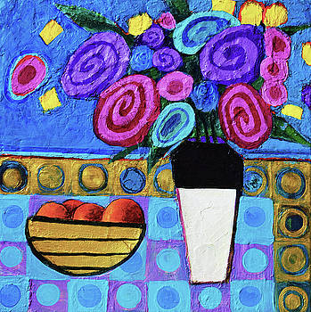 Still Life Flowers with fruit by Stephen Humphries