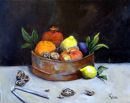 Still life fruit in copper bowl by Judie White