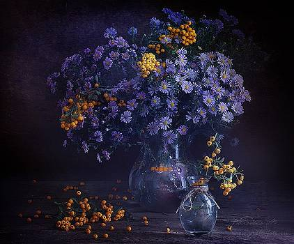 Still life in lilac shades by Marina Volodko