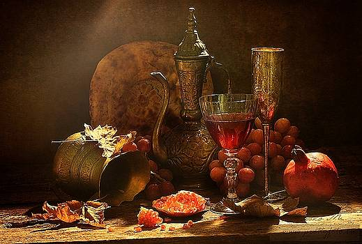 Still life in oriental style with pink grapes by Marina Volodko