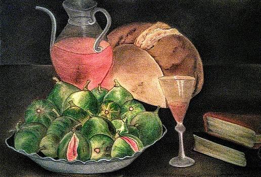 Still Life of Figs, Wine, Bread and Books by Alma Bella Solis
