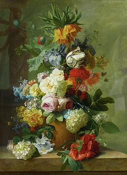 Still Life Of Flowers In A Vase On A Marble Ledge by MotionAge Designs