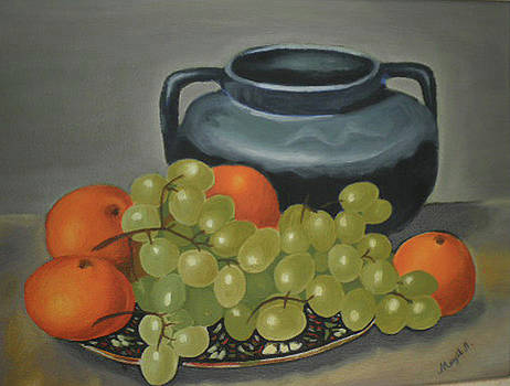 Still Life of Oranges and Grapes by Margit Armbrust
