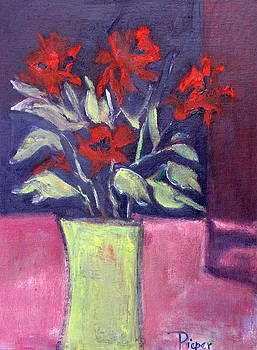 Still Life of Red Flowers in Yellow Jug by Betty Pieper