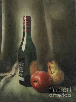 Still Life of Wine and Fruit by Mitzisan Art LLC