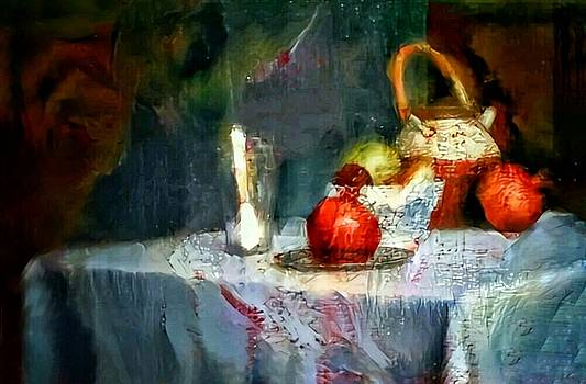 Still life oil painting table with pomegranate ceramic kettle glass knife and bowl of fruit pears linen sketch painting life drawing by MendyZ