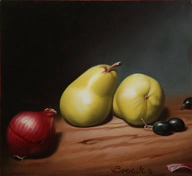 Still Life Painting with Pears by Eric Bossik