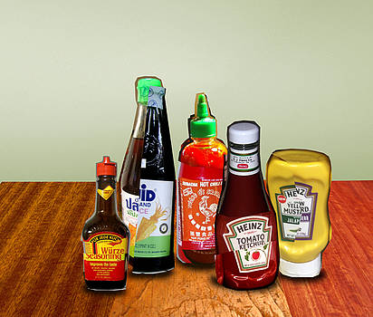 Still Life - Sauces and Condiments Collage by Tin Tran