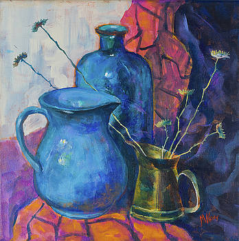 Still life with a blue bottle and the other subjects by Maxim Komissarchik