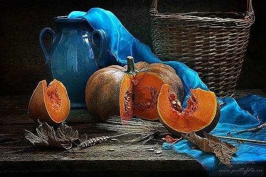 Still-life with a fresh pumpkin by Marina Volodko