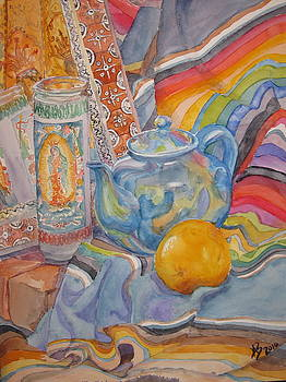 Still Life With a Mexican Blanket by Karen Boudreaux