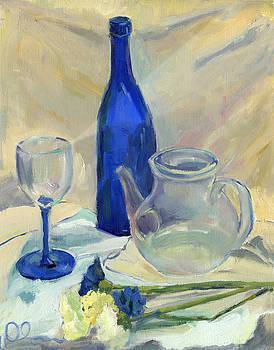 Still Life With Blue Carnations by Lelia Sorokina