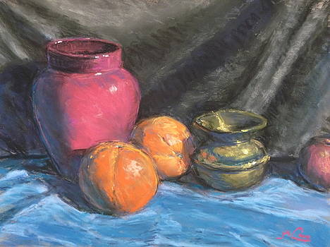 Still life with brass urn by Michael Camp