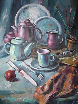 Still Life with brushes by Ekaterina Pozdniakova