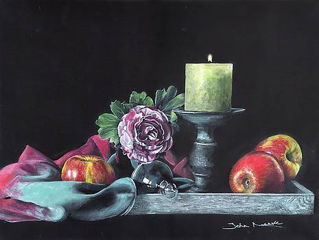 Still life with candle by John Neeve