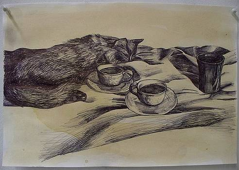 Still Life with Cat and Teacups by Kellie Hogben