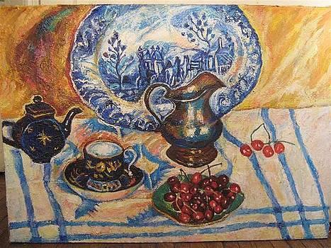 Still-life with cherry by Natalia Slovinskaya