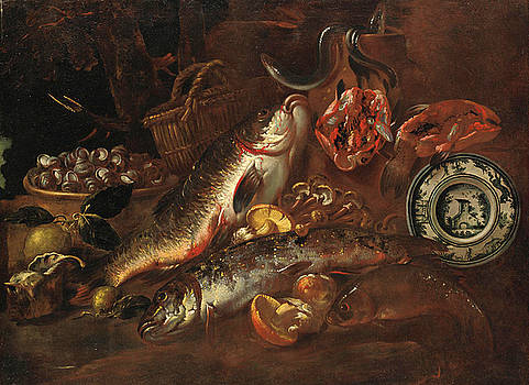 Felice Boselli - Still Life with Fish Mushrooms Shells and a Ceramic Plate