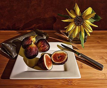 Still Life With Flower And Figs by Mark Fuller