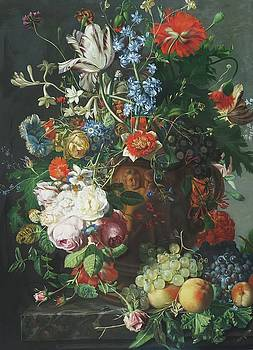 Still Life with Flowers and Fruit 1749 by Jan van Huysum by William Roberts
