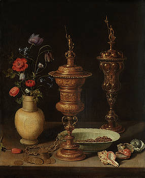 Still life with Flowers and Gilt Goblets by Clara Peeters