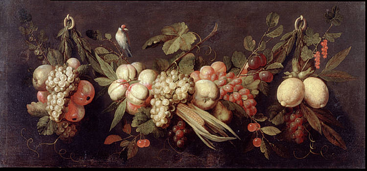 Jan Frans van Son - Still Life with Fruit and a Bird