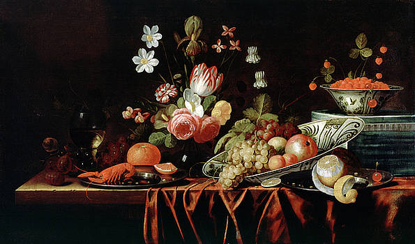 attributed to Jan Franz van Son - Still Life with Fruit, Flowers and Crayfish