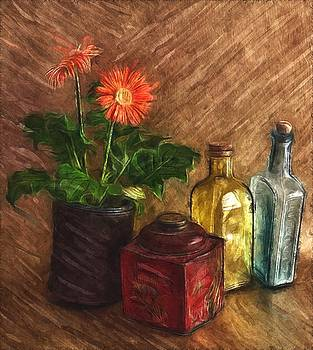 Still Life With Gerber, Bottles, And Tin by Mark Fuller