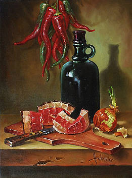 Still life with ham by Dusan Vukovic