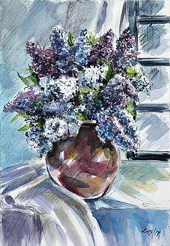 Still life with lilac by Kovacs Anna Brigitta