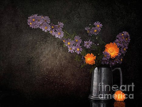 Judith Flacke - Still life with Michaelmas daisies and marigold flowers.