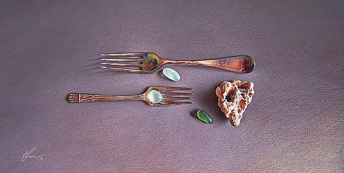 Still life with old forks by Elena Kolotusha