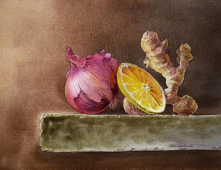 Irina Sztukowski - Still Life With Onion Lemon And Ginger