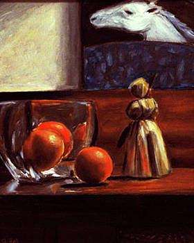 Still Life with oranges and horse by Gayle Bell