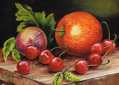 Still Life With Peaches And Cherries  by Val Stokes